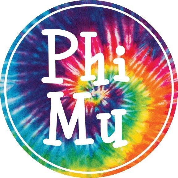 Phi Mu Tie-Dye Circle Sticker
