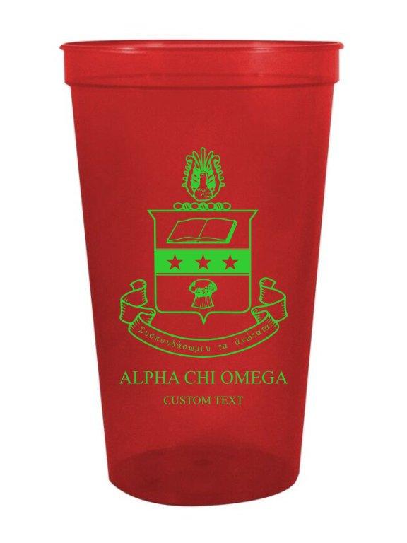 Alpha Chi Omega Custom Greek Crest Letter Stadium Cup
