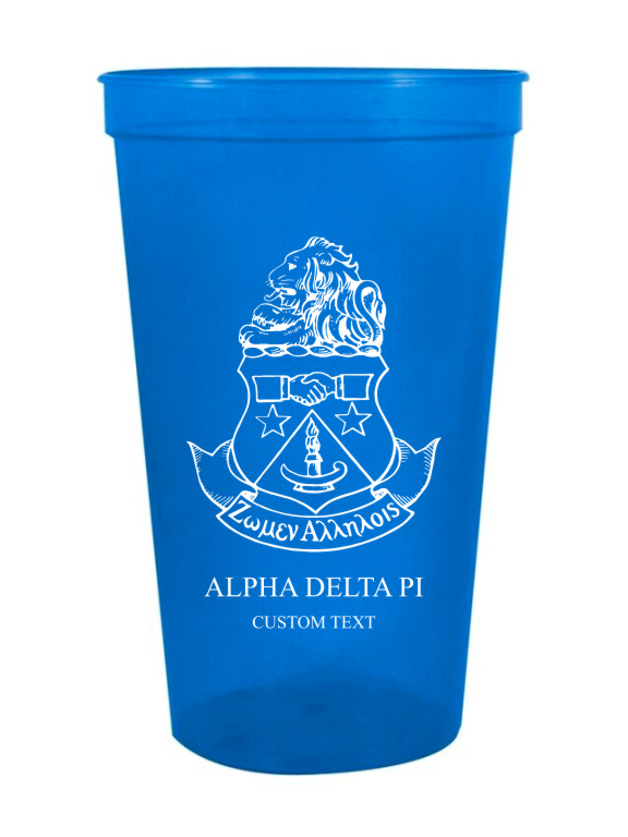 Alpha Delta Pi Custom Greek Crest Letter Stadium Cup