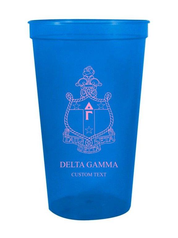 Delta Gamma Custom Greek Crest Letter Stadium Cup
