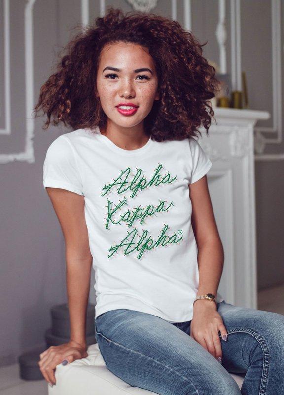 Alpha Kappa Alpha Christmas Lights Boyfriend Tee