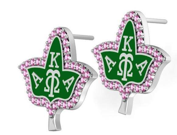 Alpha Kappa Alpha Ivy With Green Enamel Earring