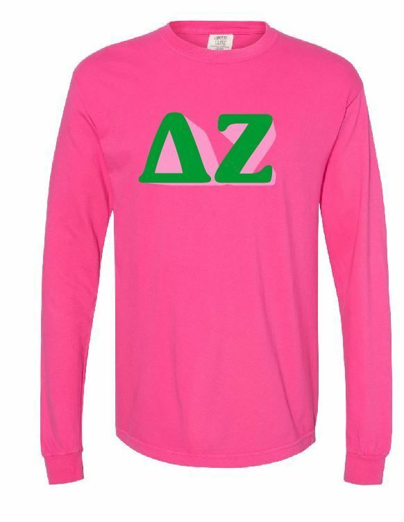 Comfort Colors Sorority 3D Greek Letters Long Sleeve Shirt