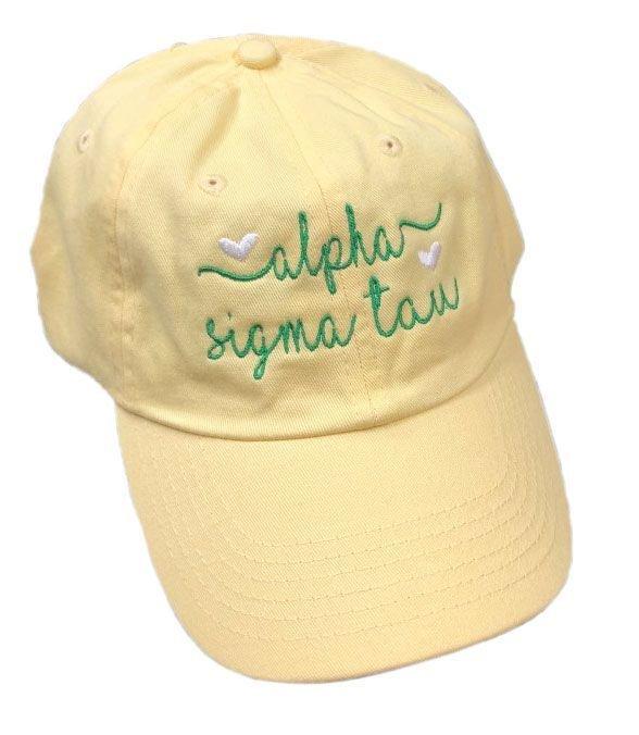 Alpha Sigma Tau Script Hearts Ball Cap