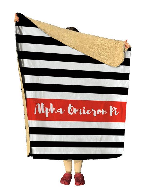 Alpha Omicron Pi Stripes Sherpa Lap Blanket