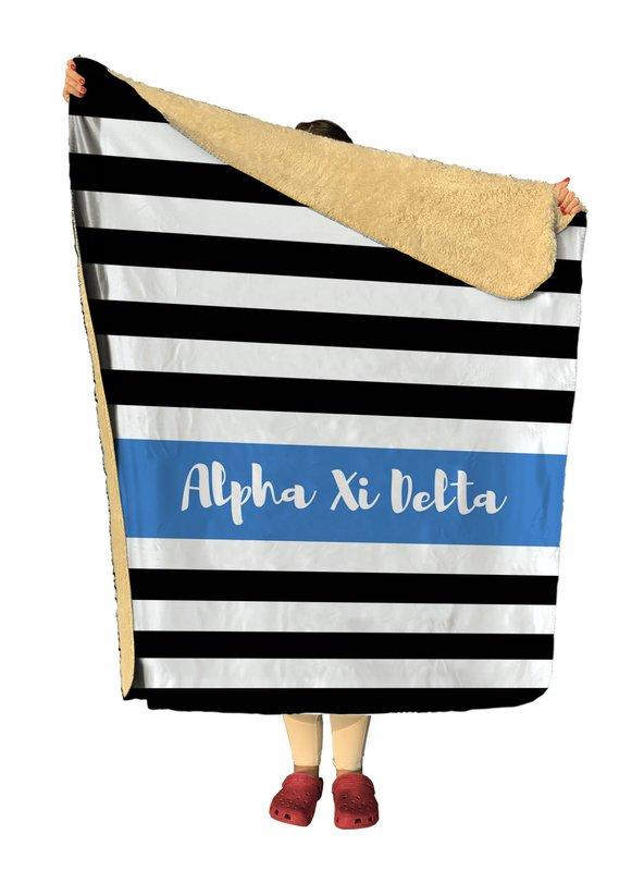Alpha Xi Delta Stripes Sherpa Lap Blanket
