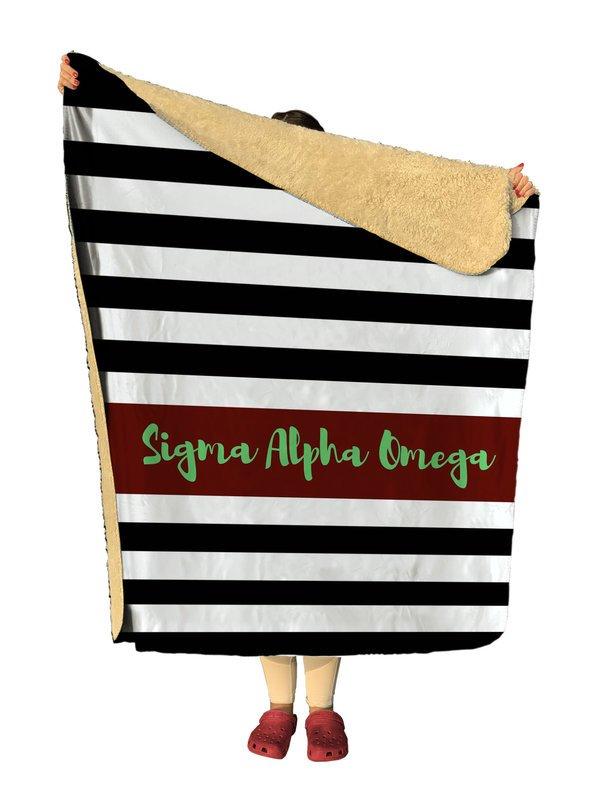 Sigma Alpha Omega Stripes Sherpa Lap Blanket