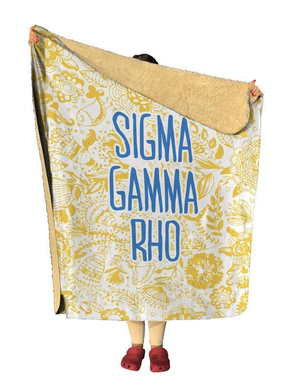 Sigma Gamma Rho Floral Sherpa Lap Blanket