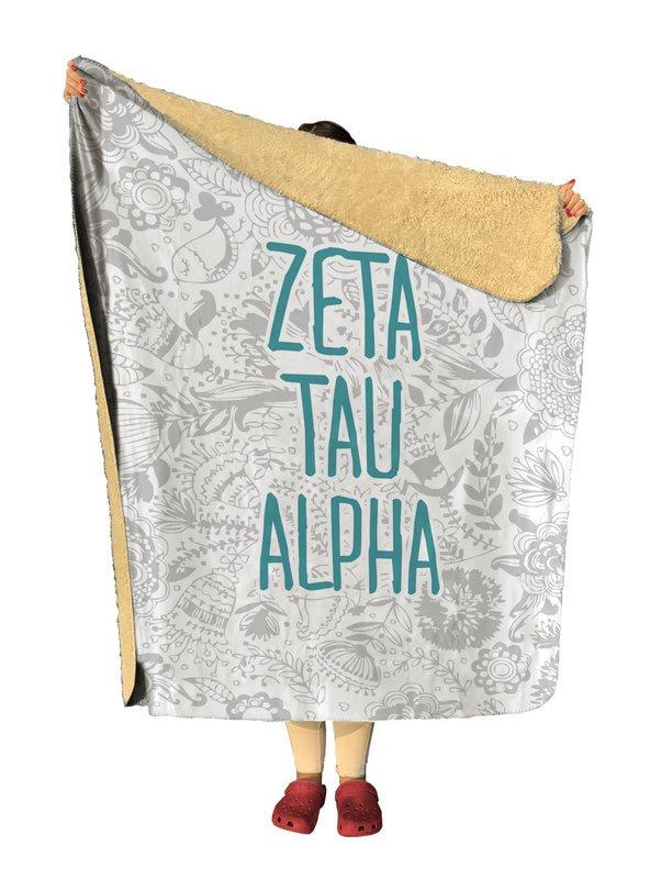 Zeta Tau Alpha Floral Sherpa Lap Blanket