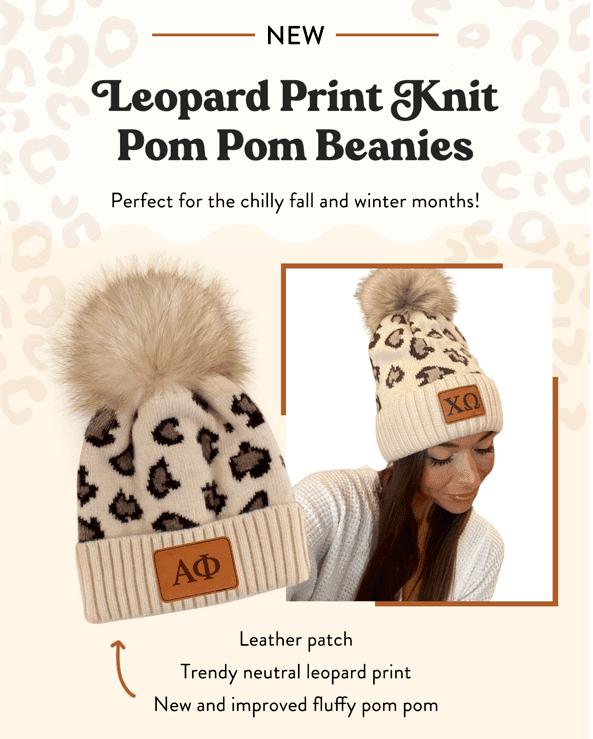 Sorority Leopard Print Knit Pom Pom Beanies