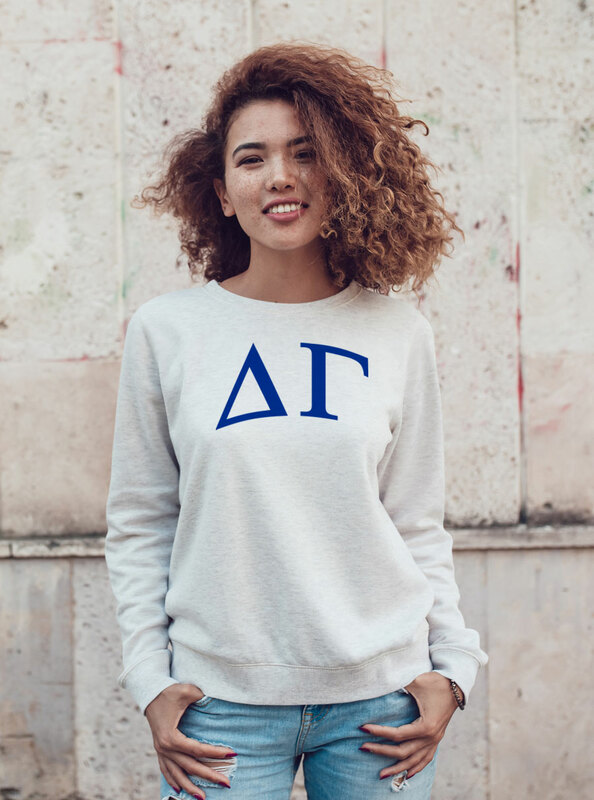 Delta Gamma Arched Greek Lettered Crewneck Sweatshirt