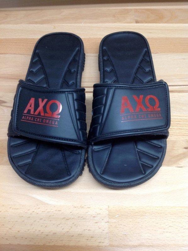Super Savings - Alpha Chi Omega Slides - Black - Size 9 - 1 of 4