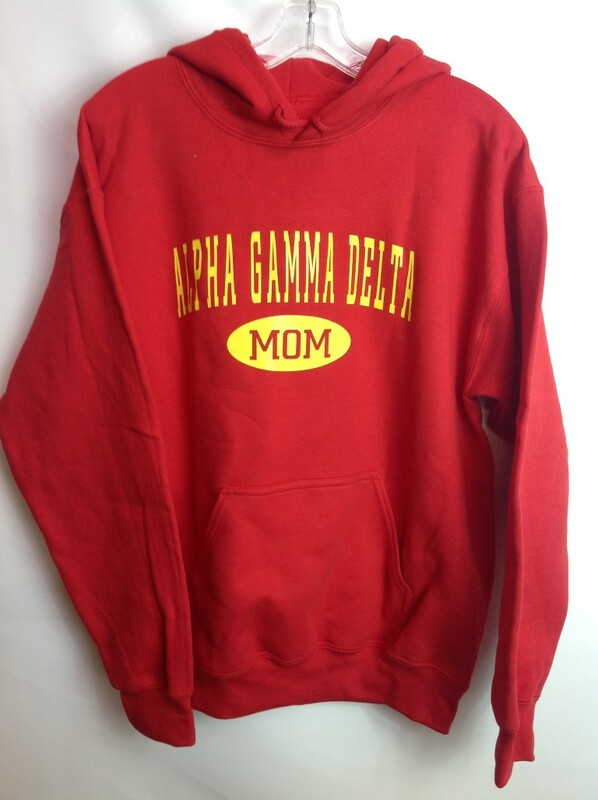 Super Savings - Alpha Gamma Delta Mom Hooded Sweatshirt -  S - Red