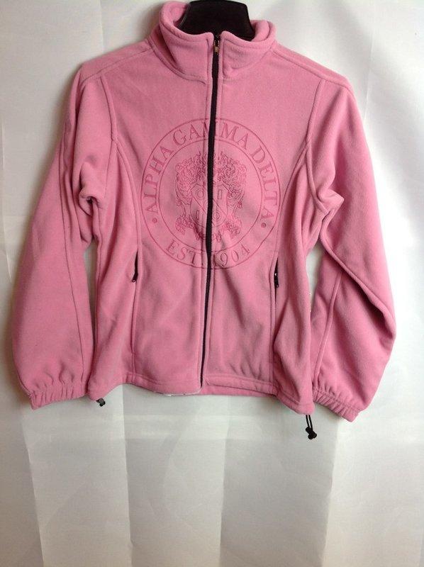 Super Savings - Alpha Gamma Delta Seal Fleece Jacket - Pink