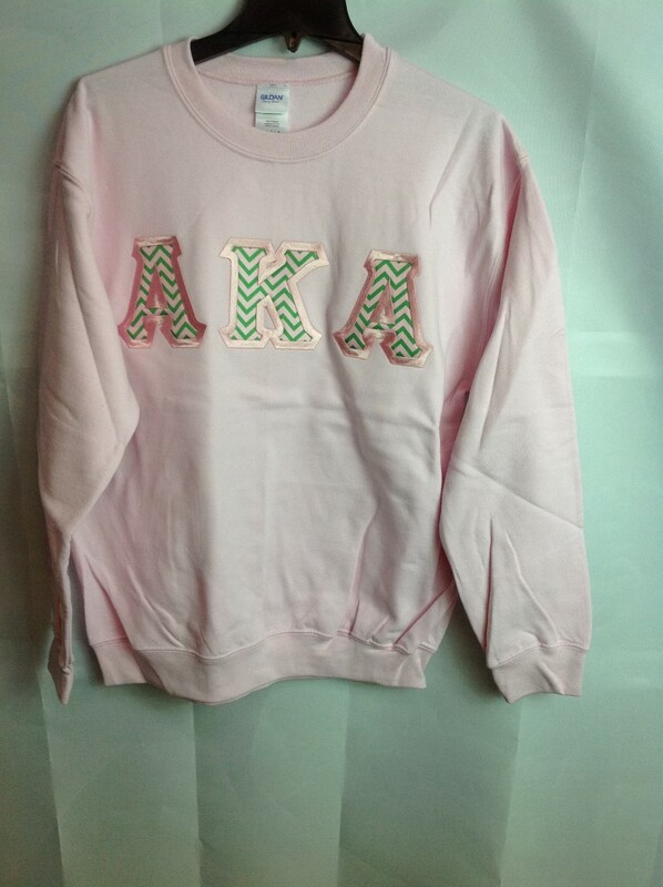 Super Savings - Alpha Kappa Alpha Chevron Lettered Crewneck - Pink - M - 2 of 5