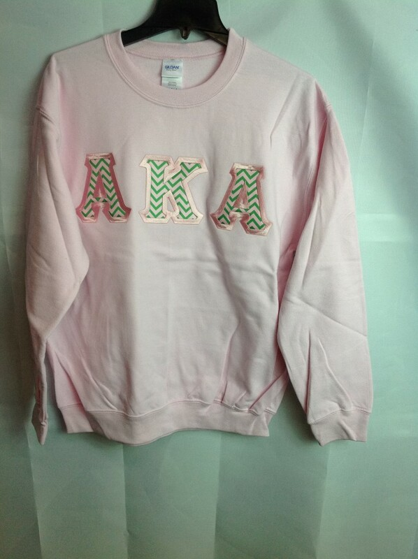 Super Savings - Alpha Kappa Alpha Chevron Lettered Crewneck - Pink - S - 1 of 4