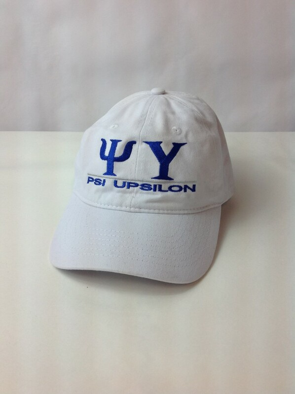 Super Savings - Psi Upsilon World Famous Line Hat - WHITE w ROYAL LETTERS