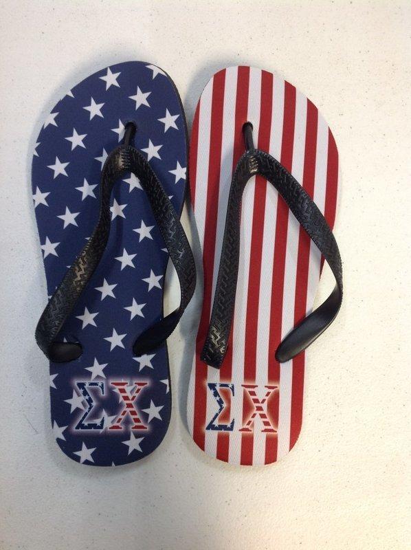 Super Savings - Sigma Chi American Flag Flip Flops