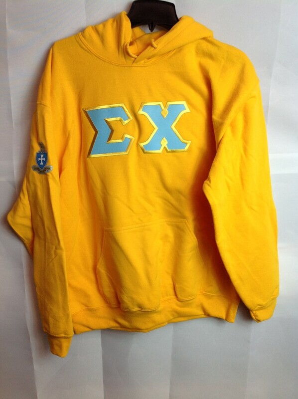 Super Savings - Sigma Chi Lettered Hooded Sweatshirt - Gold