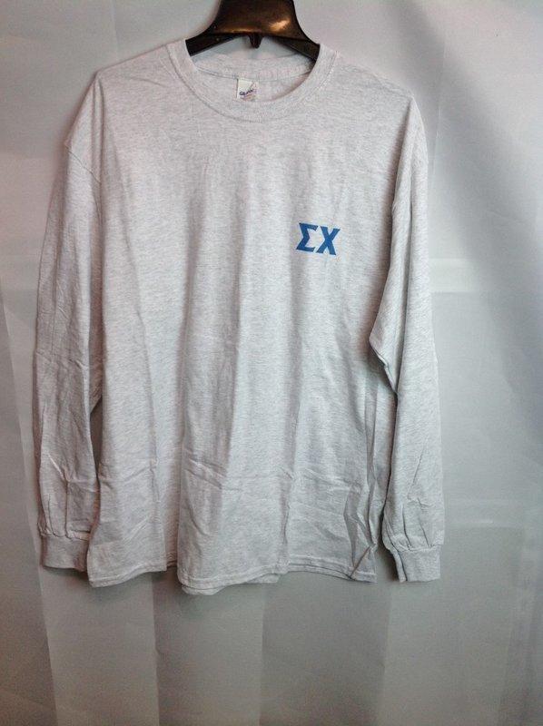 Super Savings - Sigma Chi World Famous Crest Long Sleeve T-Shirt - Gray
