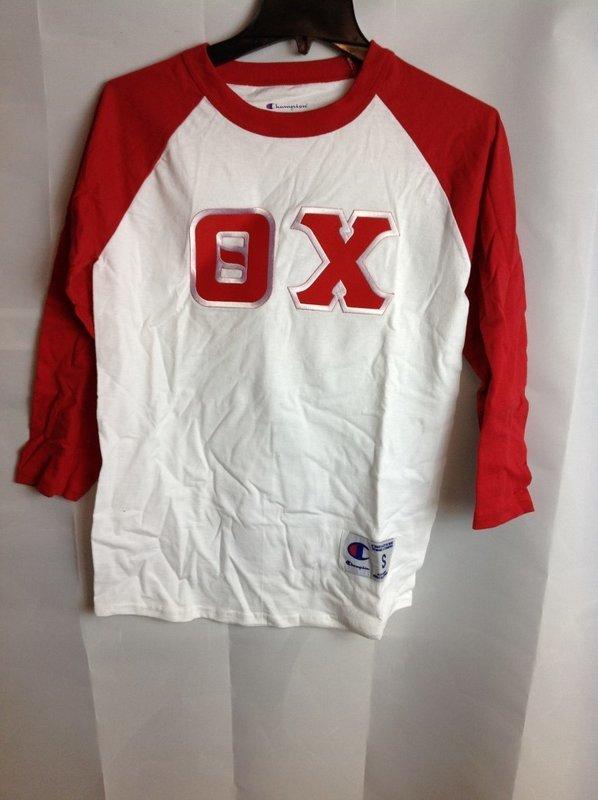 Super Savings - Theta Chi Ringer Shirt - White - Red
