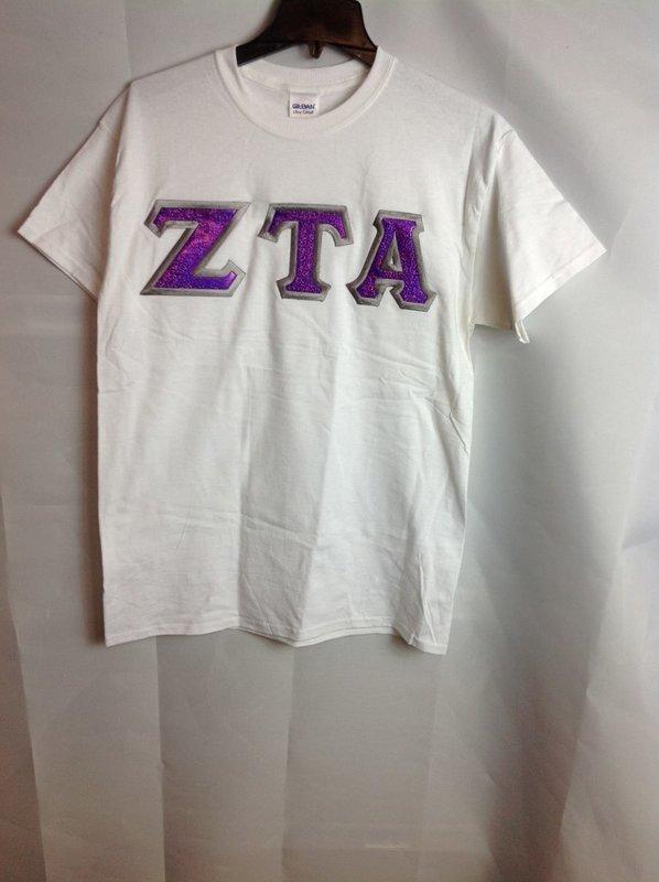 Super Savings - Zeta Tau Alpha Lettered Tee - White SALE