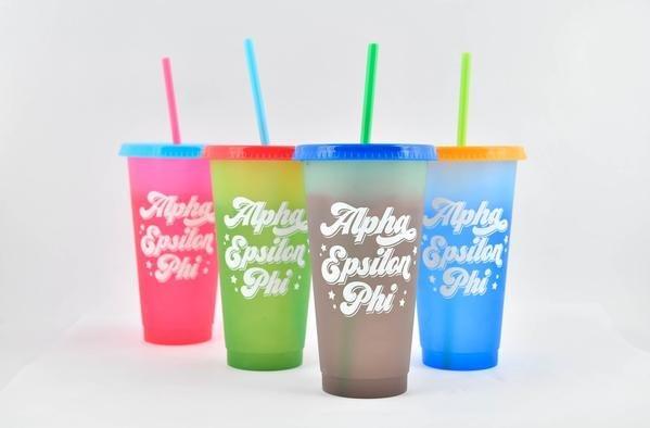 Alpha Epsilon Phi Color Changing Cups (Set of 4)