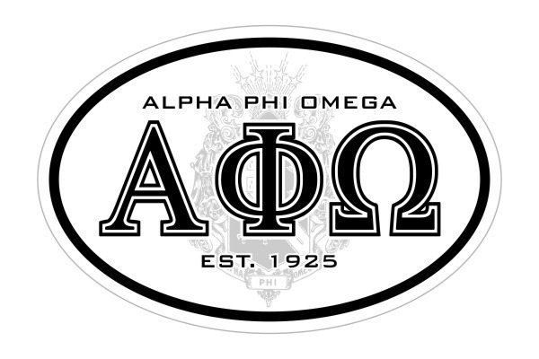 Alpha Phi Omega Oval Crest - Shield Bumper Sticker - CLOSEOUT