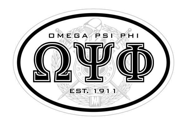 Omega Psi Phi Oval Crest - Shield Bumper Sticker - CLOSEOUT