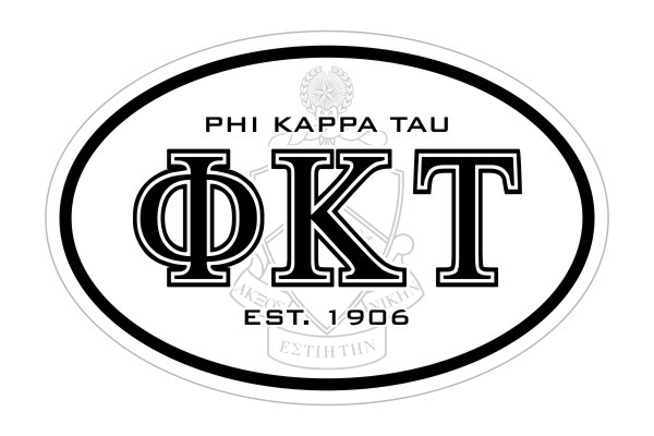 Phi Kappa Tau Oval Crest - Shield Bumper Sticker - CLOSEOUT