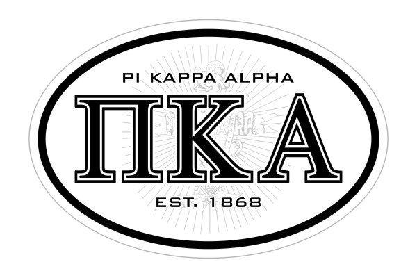 Pi Kappa Alpha Oval Crest - Shield Bumper Sticker - CLOSEOUT