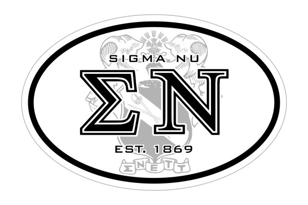 Sigma Nu Oval Crest - Shield Bumper Sticker - CLOSEOUT