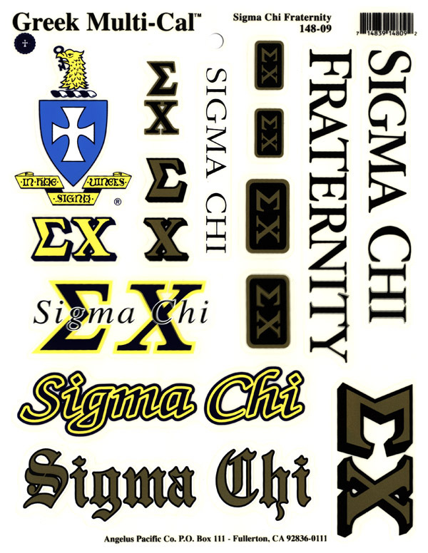 Sigma Chi Multi Decal Sheet