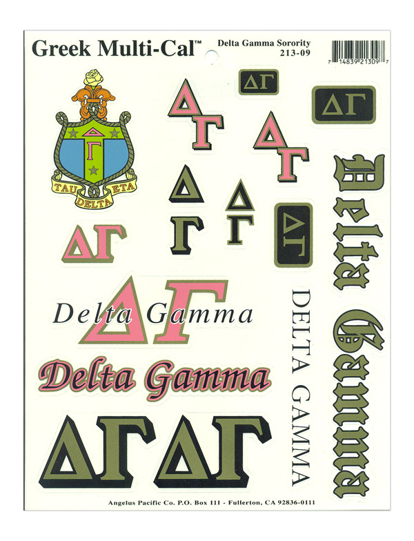 Delta Gamma Multi Greek Decal Sheet