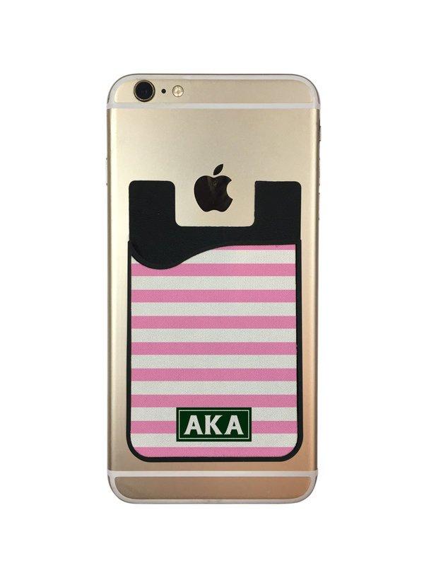 Alpha Kappa Alpha Stripes Caddy Phone Wallet