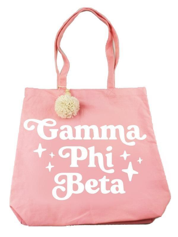 Gamma Phi Beta Retro Pom Pom Tote Bag