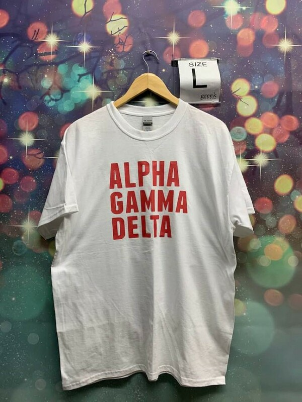 New Super Savings - Alpha Gamma Delta Align T-Shirt - WHITE