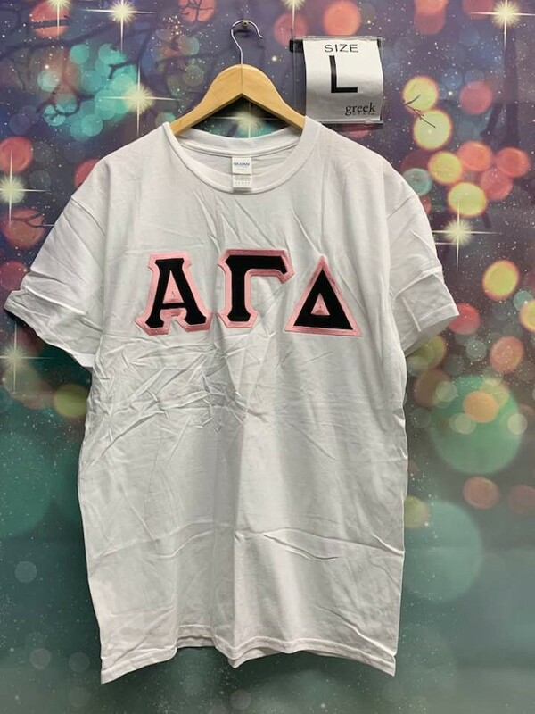 New Super Savings - Alpha Gamma Delta Lettered Shirt - WHITE 1 of 2