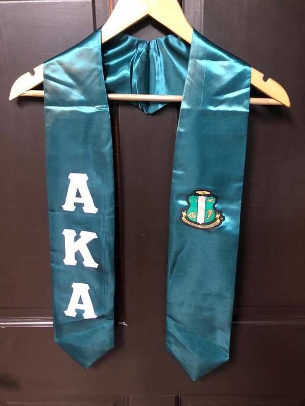 New Super Savings - Alpha Kappa Alpha Greek Lettered Graduation Sash Stole With Crest - GREEN