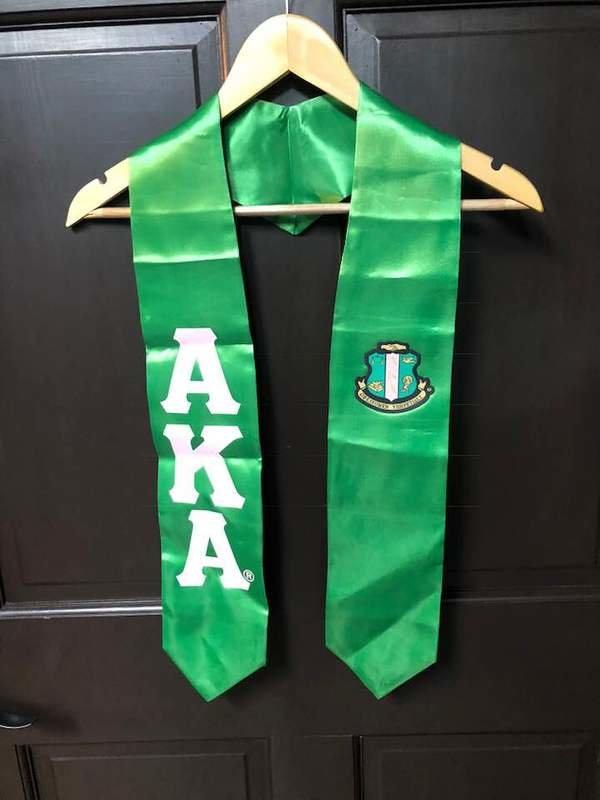 New Super Savings - Alpha Kappa Alpha Greek Lettered Graduation Sash Stole With Crest - KELLY GREEN