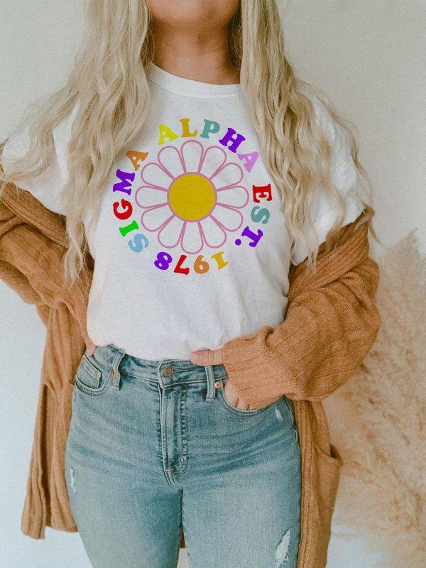 Sigma Alpha Rainbow Daisy Tee