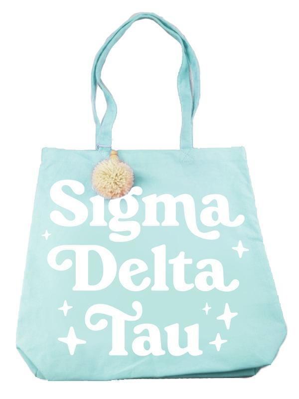 Sigma Delta Tau Retro Pom Pom Tote Bag