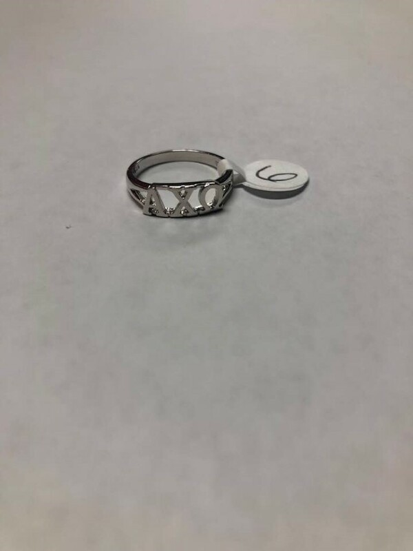 Super Savings - Alpha Chi Omega Sterling Silver Letter Ring - SILVER