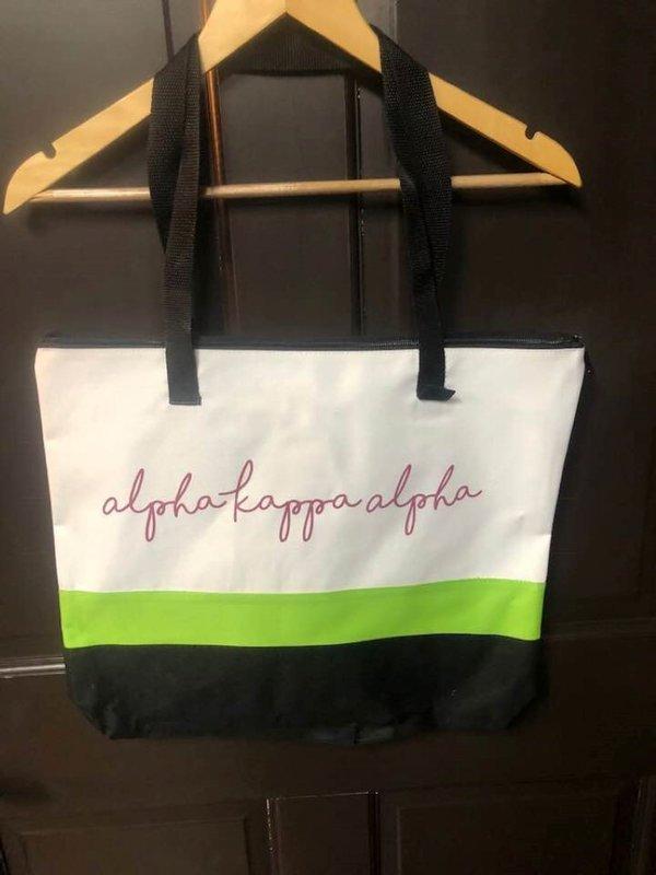Super Savings - Alpha Kappa Alpha Afinity Tote Bag - WHITE AND BLACK WITH GREEN STRIPE