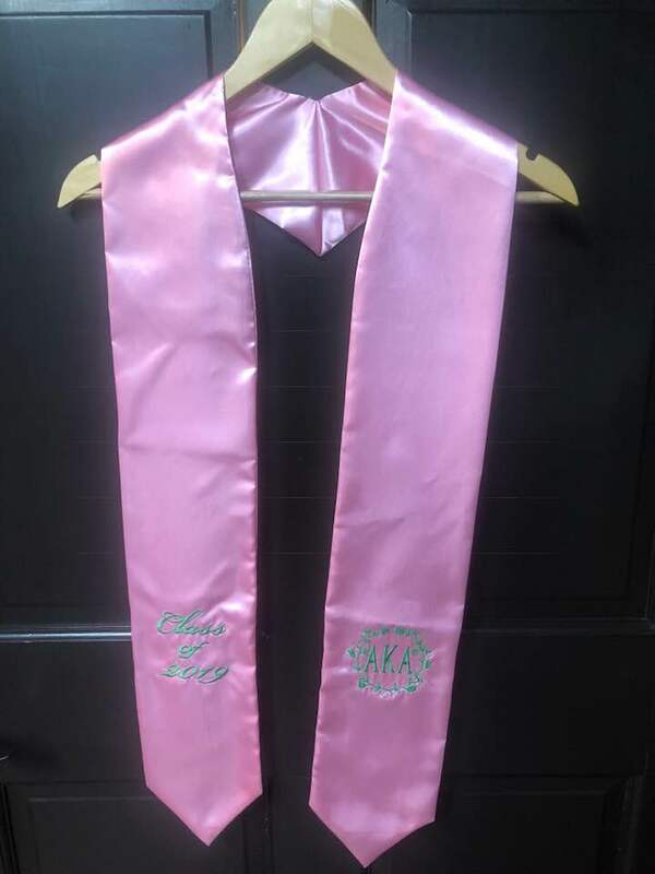 Super Savings - Alpha Kappa Alpha Embroidered Wreath Graduation Sash Stole - PINK