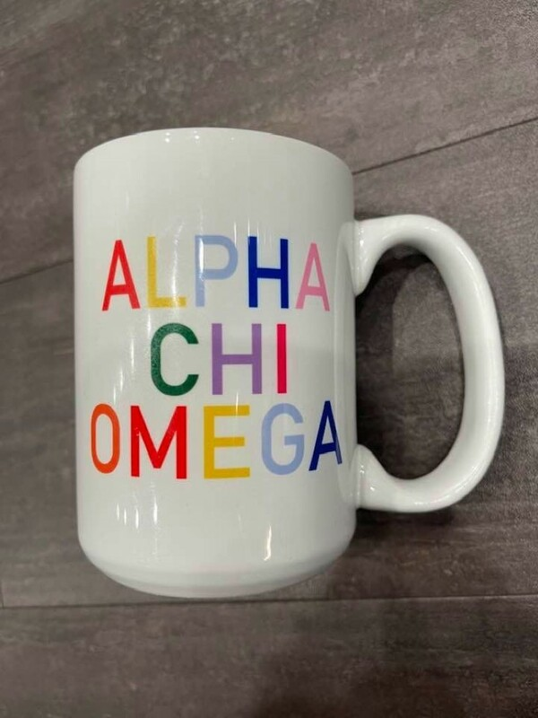 The New Super Savings - Alpha Chi Omega Rainbow Mug - WHITE