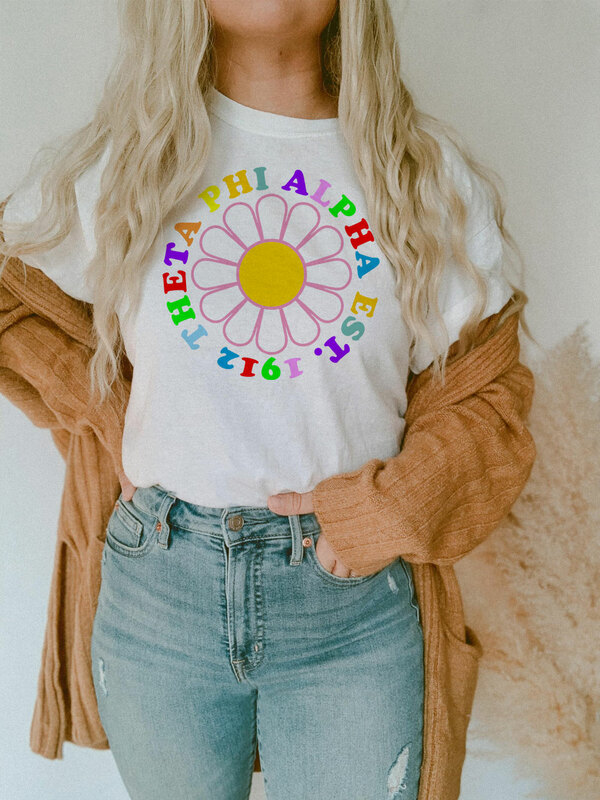 Theta Phi Alpha Rainbow Daisy Tee