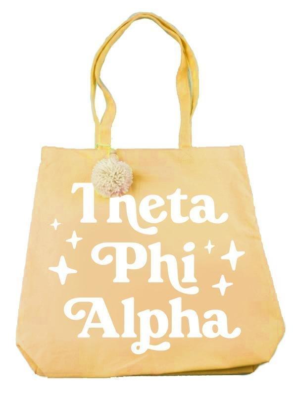 Theta Phi Alpha Retro Pom Pom Tote Bag