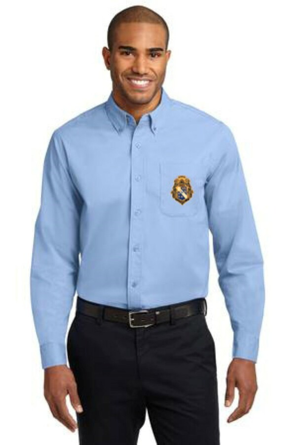 DISCOUNT-Alpha Phi Omega Crest - Shield Long Sleeve Oxford