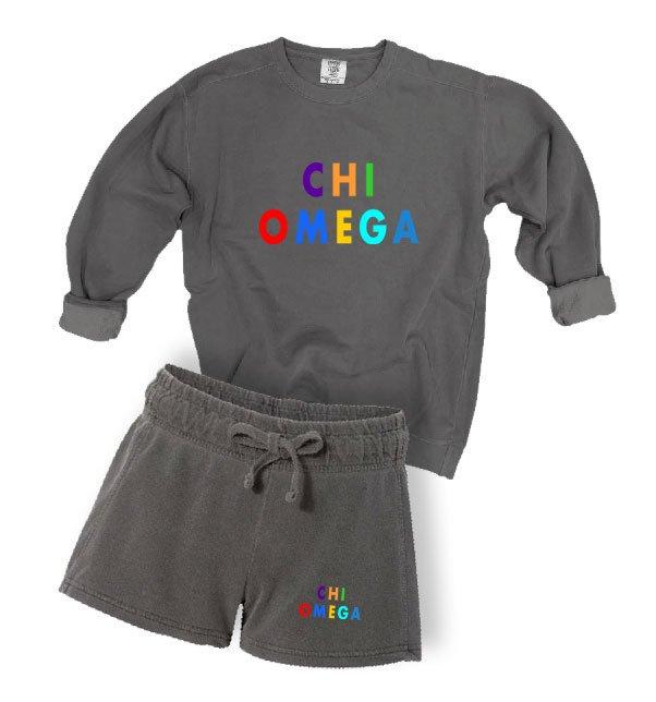 Chi Omega Comfort Colors Crew and Short Set